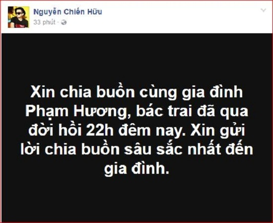 Phạm Hương viết tâm sự xúc động gửi bố trước khi ông qua đời