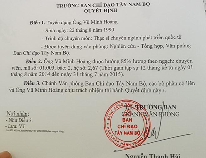 Vũ Minh Hoàng, vụ phó 26 tuổi, Ban chỉ đạo Tây Nam Bộ