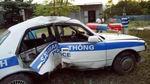 Xe cảnh sát giao thông lật nhào: Xác định đối tượng bỏ trốn