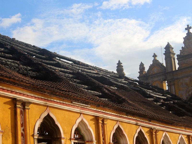 Nhà thờ Trung Lao, Cháy, Hỏa hoạn, Nam Định