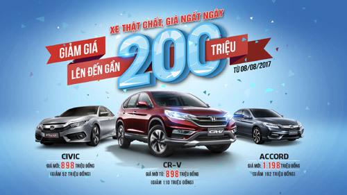 Honda công bố giá mới hấp dẫn của CR-V, Civic và Accord