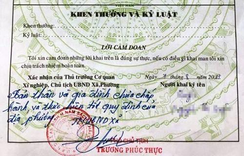 Sơ yếu lý lịch, Phó chủ tịch xã An Bình, Chính quyền địa phương, lạm thu, nhà nước kiến tạo