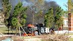 Xe bán tải bốc cháy ngùn ngụt trước cổng Viện Kiểm sát