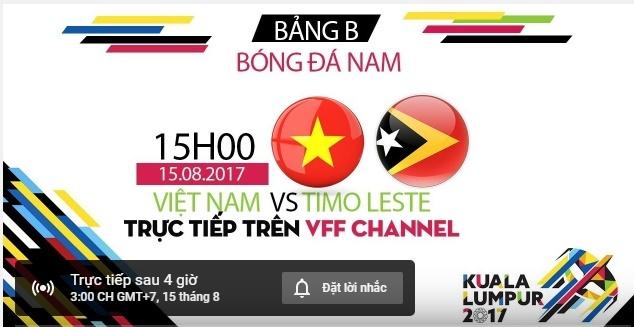 Link xem trực tiếp U22 Việt Nam vs U22 Đông Timor bảng B SEA Games 29