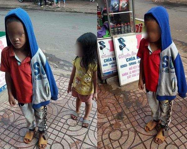 Bé trai bị xích tay chân lang thang giữa chợ