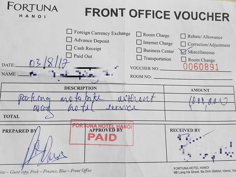 Khách sạn có được phạt 1 triệu đồng/lần gửi xe?