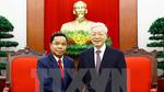 Tổng bí thư tiếp đoàn Văn phòng TƯ Đảng Nhân dân Cách mạng Lào