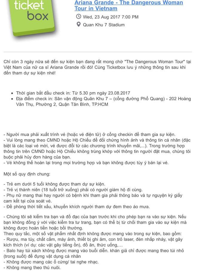 BTC show Ariana Grande tại Việt Nam sẽ kiểm tra tư trang khán giả
