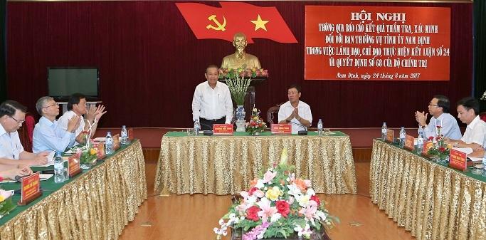 Đoàn của Bộ Chính trị đề nghị Nam Định thi tuyển lãnh đạo cấp sở
