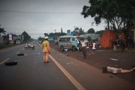 TNGT, tai nạn giao thông, xe cấp cứu, Đắk Lắk, quốc lộ 14