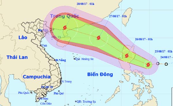 Bão giật cấp 11 đang tiến vào biển Đông
