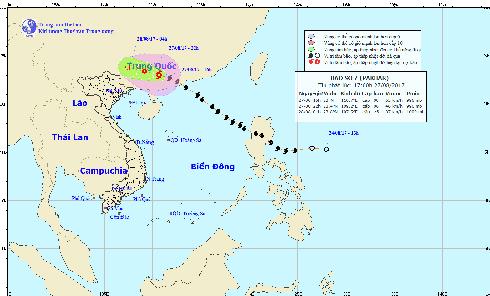 Bão số 7 đi sâu vào đất liền TQ và suy yếu thành áp thấp nhiệt đới