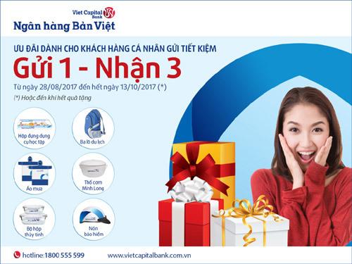 2/9: 'Gửi 1 - Nhận 3' tại ngân hàng Bản Việt