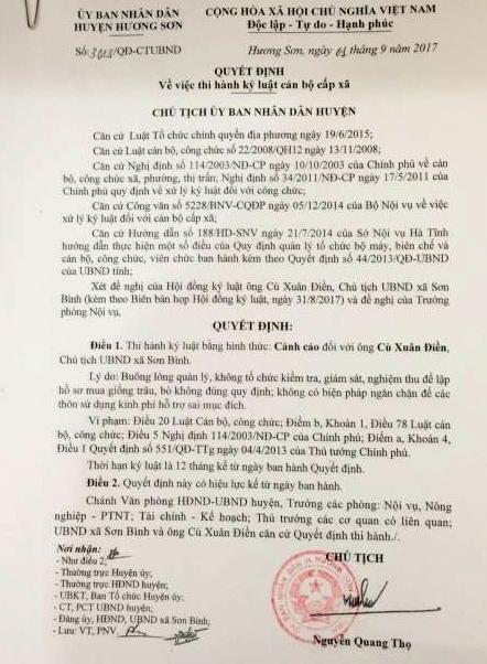 Cảnh cáo Chủ tịch xã vụ dùng tiền mua bò của hộ nghèo
