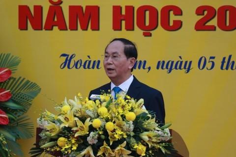 Chủ tịch nước Trần Đại Quang phát biểu tại lễ khai giảng Trường Trưng Vương