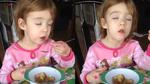 Bé gái gây sốt vì cố cưỡng lại cơn buồn ngủ để ăn bánh