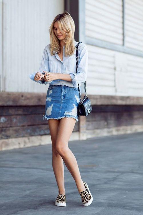 Mix đồ với chân váy đầm denim đẹp hoàn hảo