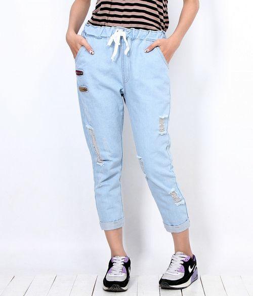 Quần jeans nữ dài phối dây kéo style