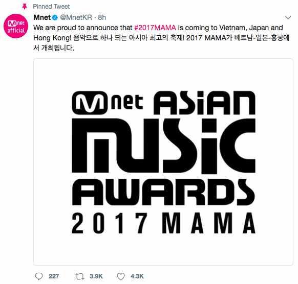 Tiết lộ lý do MAMA 2017 được tổ chức ở Việt Nam