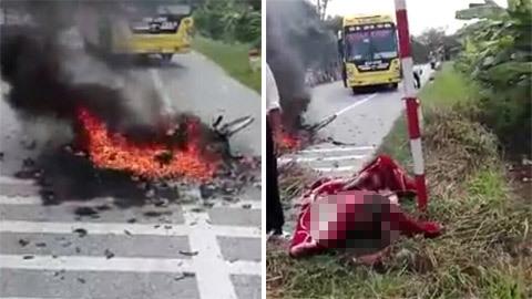 Xe khách đâm xe đạp phát nổ, người phụ nữ bỏng nửa thân
