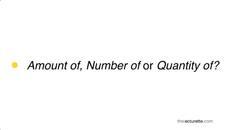 Phân biệt 'amount', 'quantity' và 'number'