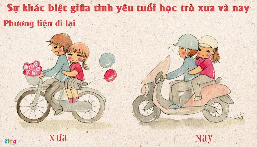 Viết dưới sân trường: Tình yêu thời xưa, yêu là giật tóc, lật nón, xịt lốp xe