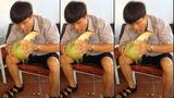 Choáng với cậu học sinh lột vỏ dừa bằng miệng
