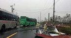 Xe khách chở 30 người gặp bão sa lầy ở Hà Tĩnh