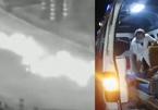 Xe máy mất lái, trượt dài trên đường bốc cháy dữ dội