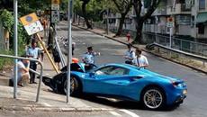 Né chó chạy rông, siêu xe Ferrari tông cột