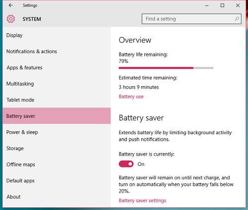 Tiết kiệm pin cho laptop Windows 10