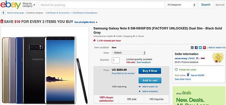 Xuất hiện Galaxy Note 8 bản 2 SIM giá chỉ 890 USD ở Mỹ