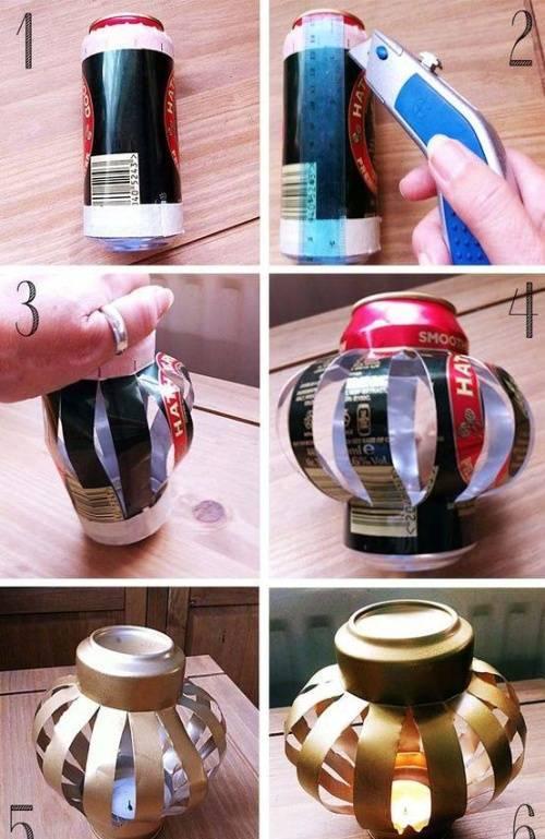 Mẹo làm đèn Trung thu bằng lon bia, giấy nhún