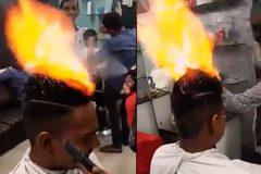 Bạn có đủ can đảm để cắt tóc bằng lửa như thế này?