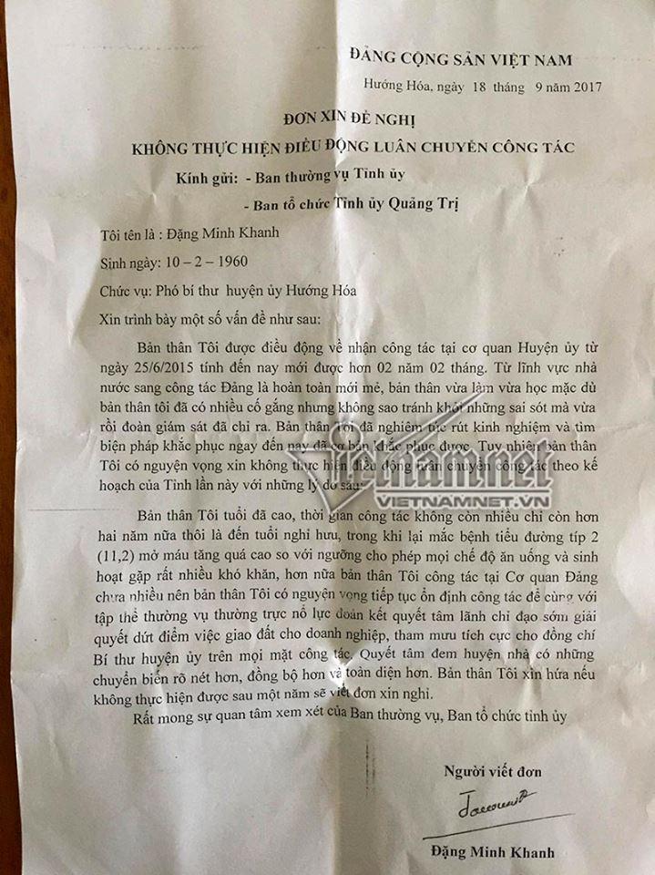 Phó bí thư huyện viết đơn xin không luân chuyển