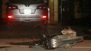 Va chạm xe ô tô Bí thư huyện, 2 thanh niên nhập viện