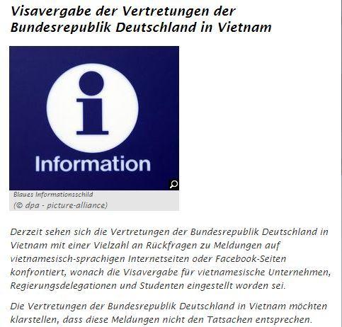 Không có chuyện Đại sứ quán Đức ngừng cấp thị thực