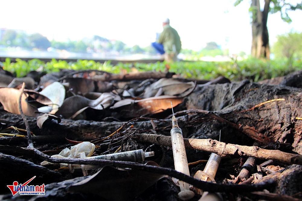 ma túy, Hà Nội, tiêm chích ma túy, nghiện hút, kim tiêm vứt la liệt bên hồ ba mẫu, hồ ha le