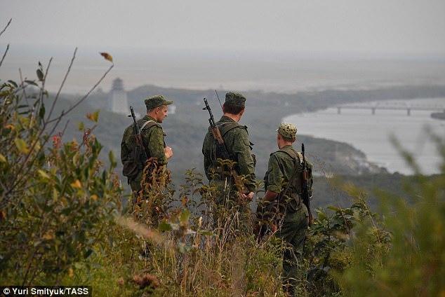 Lính Nga tuần tra biên giới giáp Triều Tiên