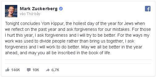 Mark Zuckerberg mong được tha thứ vì Facebook đã gây chia rẽ con người