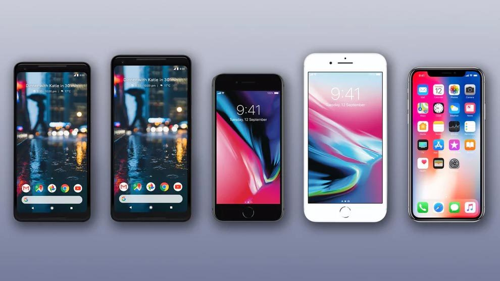 Google Pixel 2,Google Pixel 2 XL,Google,iPhone 8,iPhone 8 Plus,iPhone X,Apple,smartphone
