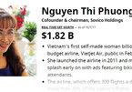 Tỷ phú Phạm Nhật Vượng, Nguyễn Thị Phương Thảo có 4,7 tỷ USD