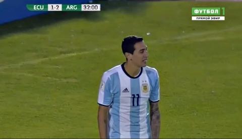 Ecuador 1-2 Argentina: Di Maria bỏ lỡ