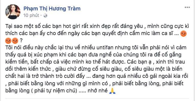 Bị cho là viết status chê Chi Pu hát dở, Hương Tràm lên tiếng