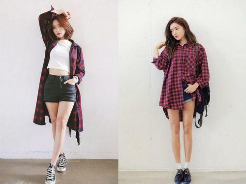 7 cách phối đồ với áo sơ mi form dài rộng kiểu Hàn Quốc
