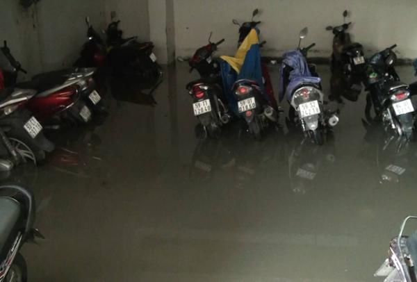 Hàng trăm ôtô, xe máy bị ngâm trong hầm ngập nước ở Sài Gòn - ảnh 9