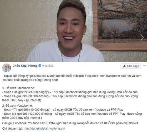 Châu Khải Phong livestream 'nét căng' bằng 4G MobiFone