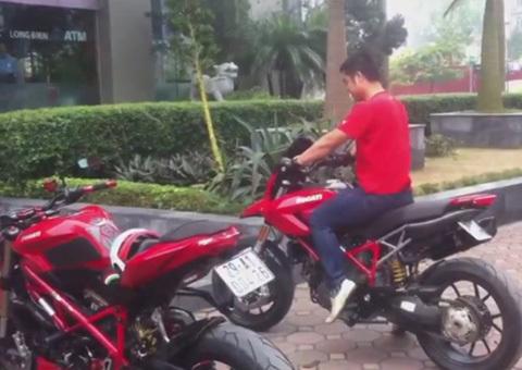Thanh niên bốc đầu Ducati trên đường Hà Nội