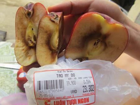 siêu thị, hoa quả, thực phẩm, giò, táo, ôi, thiu