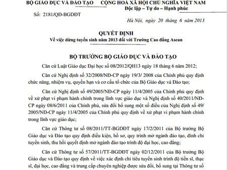 Bộ GD-ĐT, Thứ trưởng, Bùi Văn Ga, dừng tuyển sinh, quyết định